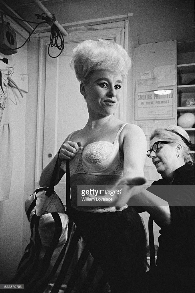 Barbara Windsor in her dressing room preparing for her part in 'Oh! What a Lovely War' at the Broadhurst Theatre, Broadway, New York City, 6th November 1964
