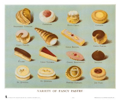 Variety of Fancy Pastry: French Pastries, Food Group, Pastries Posters, Fancy Pastries, Art Prints, Frames Artworks, Food Illustrations, Vintage Kitchen, Pastries Prints