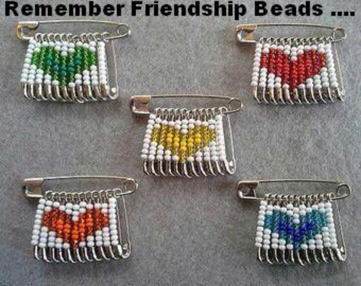Safety pins beads heart