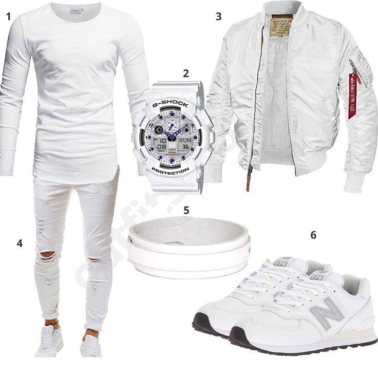 Komplett weißes Herrenoutfit mit Longsleeve, Jeans und Bomberjacke – KEN VALLECILLO