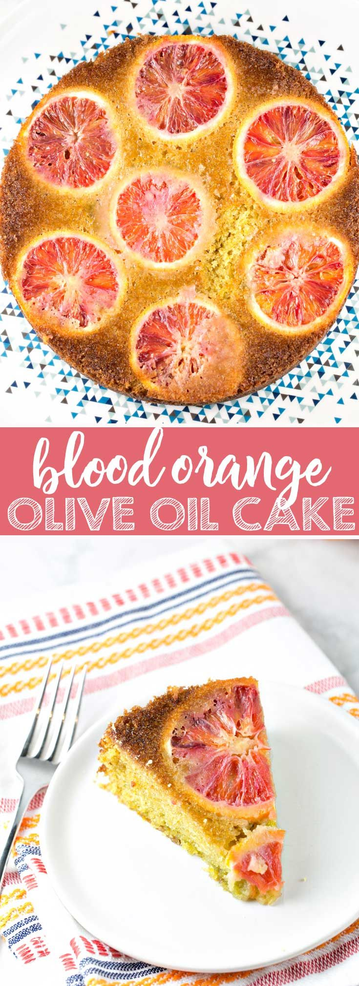 Blood Orange Olive Oil Cake: a moist and delicious, one bowl, mix by hand, dairy free cake becomes dinner party worthy with blood oranges. #bloodorange #oliveoilcake #cake #dairyfree via @bnsnbrnrbakery