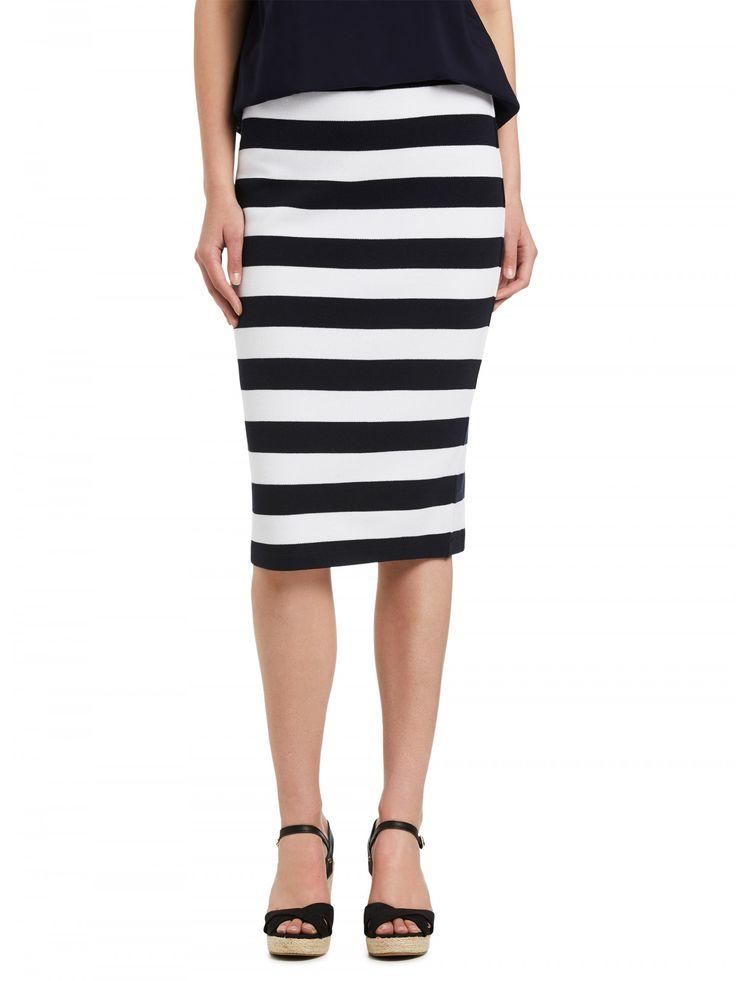 Navy Bold Stripe Tube Skirt - Skirts & Shorts - Clothing