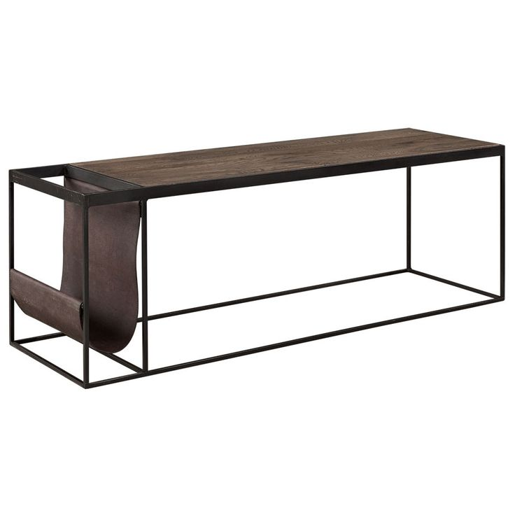 10 990kr: Magazine soffbord från Artwood med stativ i järn, skiva i ek och tidningsställ i buffalo leather lampré. Mått:Längd 130 cm, bredd 40 cm, höjd 45 cm
