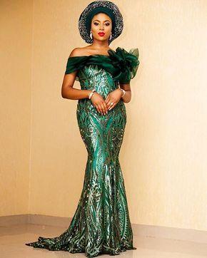 Stephanie Comer at her Nigerian traditional engagement. Emerald Gem  Dress: @styletemple  Gele/Pele: @deroyalfabrics  Fabric: @divamifashipn MUA: @anitabrows  Gele tied by @ennieyapha : @shotbyernest