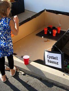 Eyeball Bounce: Using ruberballs or ping pong balls designed to look like eyeballs, bounce into cups, cauldrens or jackolantern buckets