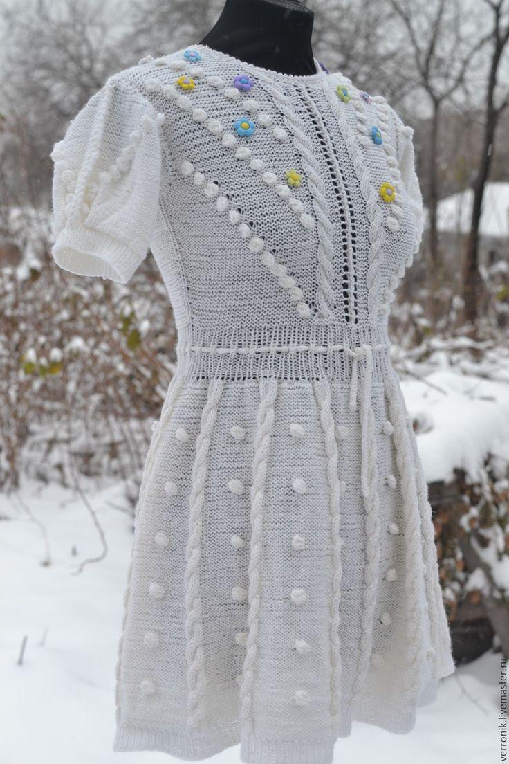 """Купить Платье вязаное """"Зимняя сказка"""" - белый, платье, Платье нарядное, платье вязаное"""