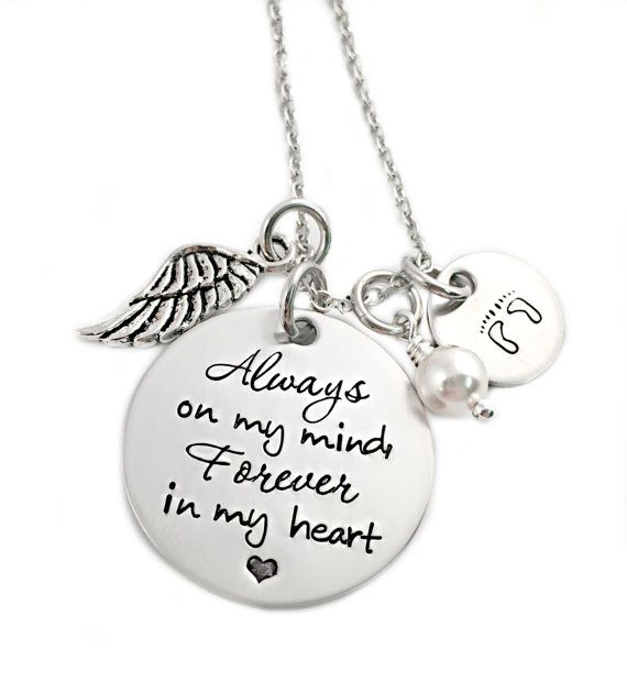 Alwas on my mind, Forever in my heart - Memorial Jewelry - Miscarriage - Pregnancy Infant Loss - Remembrance Jewelry - Miscarriage Necklace - Footprints Necklace - Oaklee Mae - www.oakleemae.com