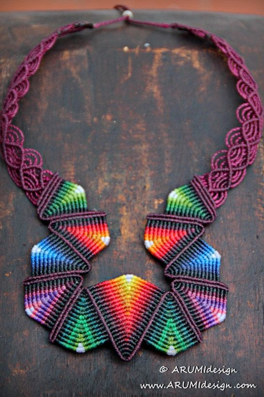 Thin thread, vibrant colors and thousands of small knots. Unique handmade micro macrame necklace inspired by traditional south american indigens