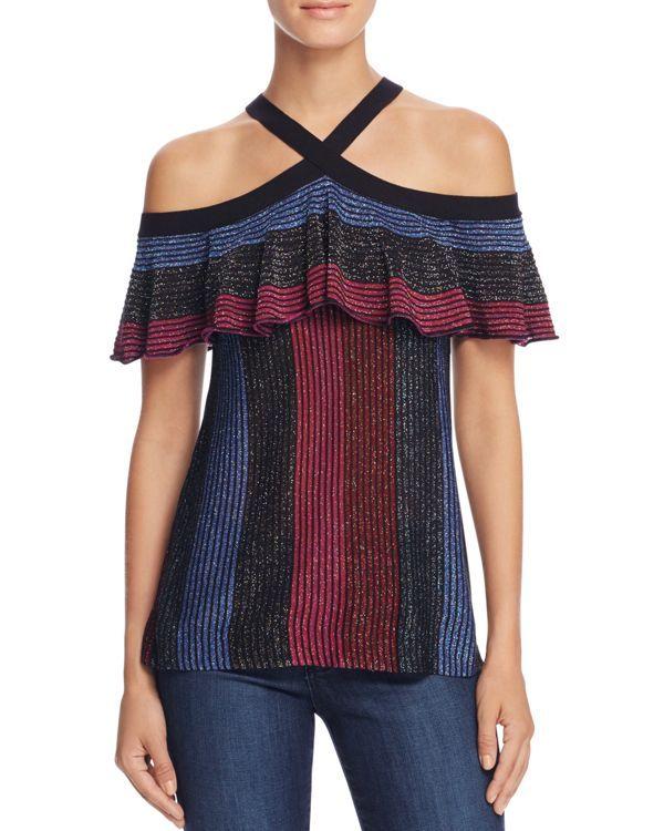 Parker Kaden Metallic Stripe Knit Top