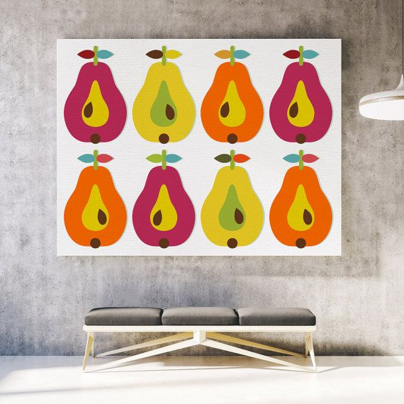 Fruit canvas print Scandinavian canvas art Pear by ReStyleGraphic