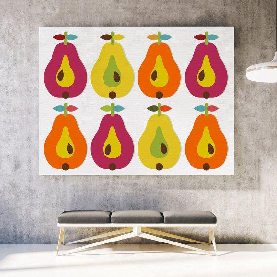 Fruit canvas print Scandinavian canvas art Pear by ReStyleGraphic