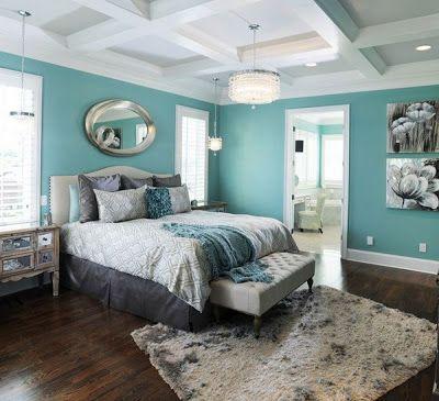 Mavi yatak odası-gri tonlarla dekorasyon
