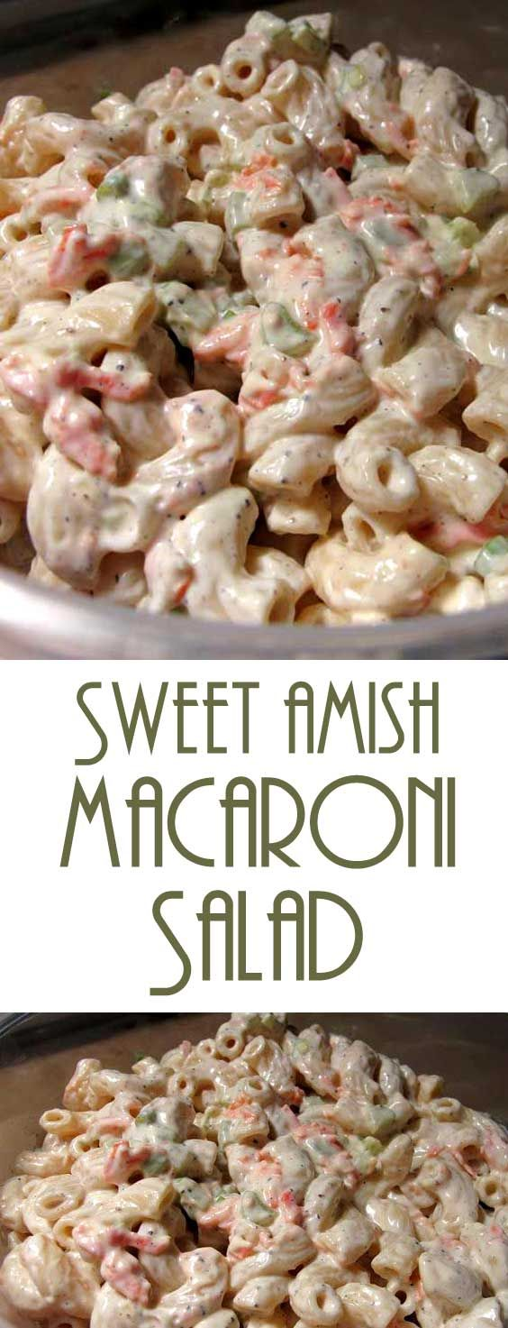 Absolutely the BEST macaroni salad! The mayo mixture in this Sweet Amish Macaroni Salad Recipe is what makes it so delightful — that bit of sweetness! #macaronisalad #amishrecipe #sidedish via @Flavoritenet