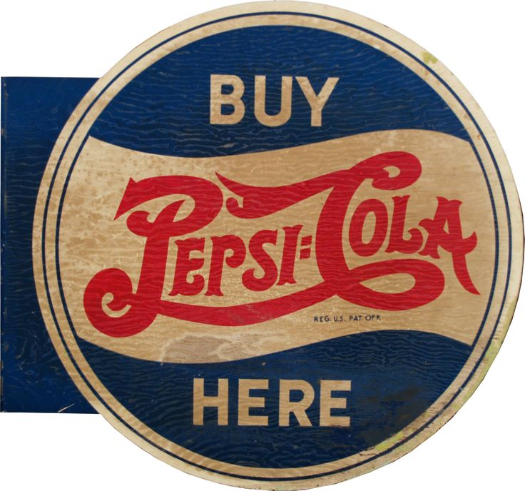 "Vintage Pepsi Logo | VCA | Vintage ""Buy Pepsi-Cola Here\"" Double Sided Flange Tin Sign ..."