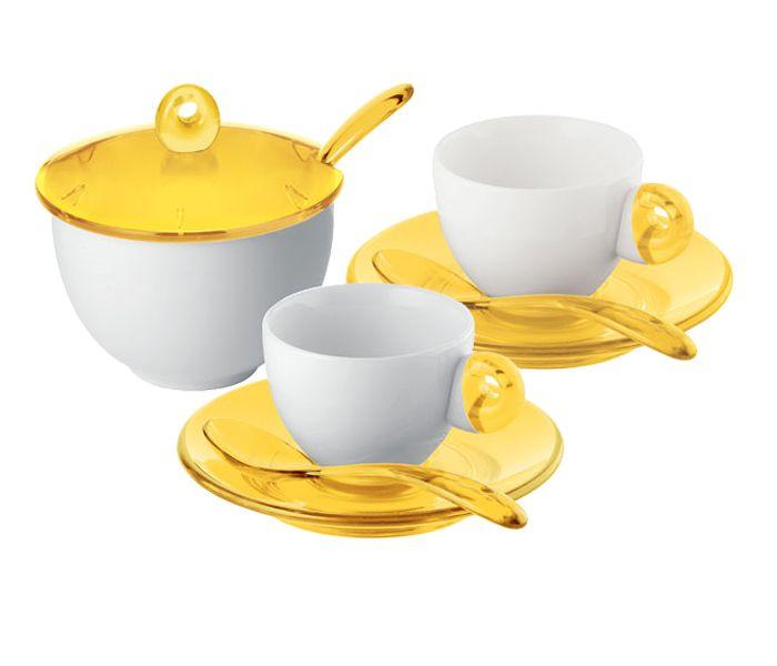 TAZZINE DA CAFFE' | Set 2 tazzine caffè con piattini, cucchiaini e zuccheriera Guzzini ...