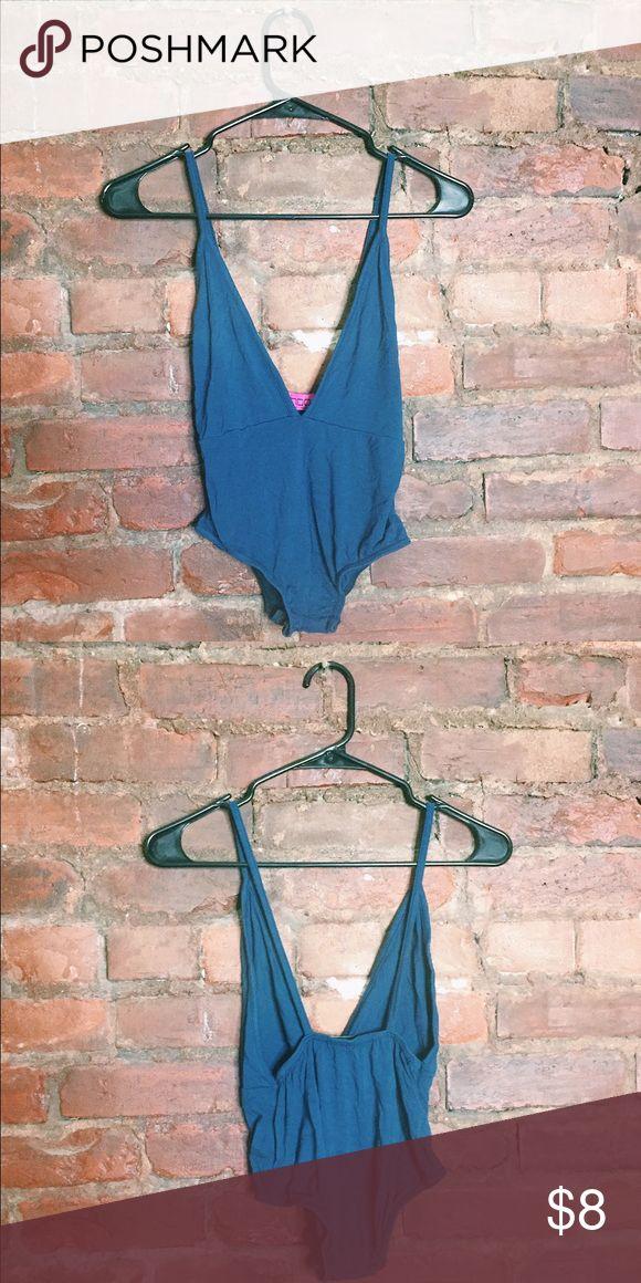 Plunge / Deep V Blue Bodysuit. Deep V Body Suit. Worn gently. Boohoo Tops Tank Tops