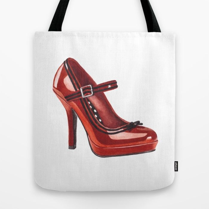 Shoe. Red Stiletto. Tote Bag by The Willow Wood Studio | Society6