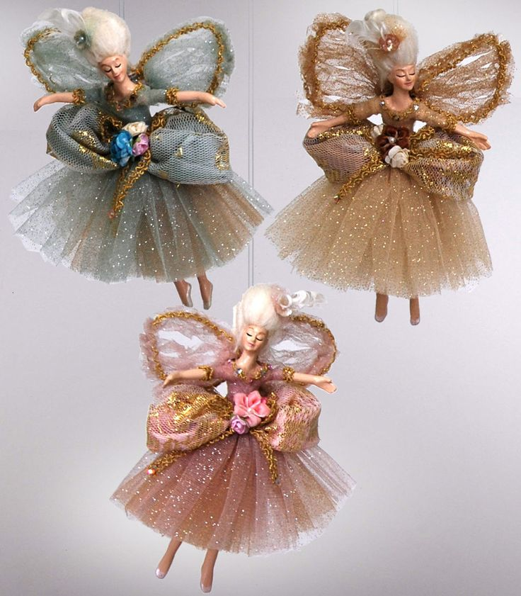 "Katherine's Collection Set Three Approx 10"""" Chantilly Fairy Ornaments Free Ship"
