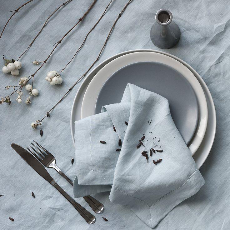 Set de servilletas de lino servilletas de lino azul