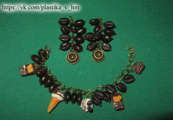 HM polymer clay coffee set bracelet and earrings.