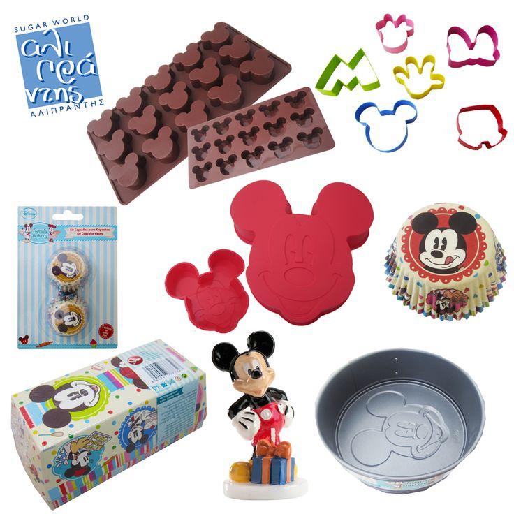 H Sugar World Αλιπράντης σας παρουσιάζει μια ολοκληρωμένη πρόταση για παιδικά γενέθλια και βάπτιση, με τον αγαπημένο ήρωα όλων μας, τον Mickey! Φτιάξτε σοκολατάκια, μπισκότα, cupcakes και κέικ με τη φιγούρα του Mickey και παρουσιάστε τα στα υπέροχα καραμελόχαρτα και χάρτινα ταψάκια! Στολίστε την τούρτα με τις πλαστικές φιγούρες και φυσικά με το κεράκι Mickey!