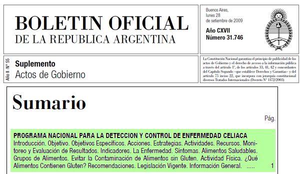 Programa Nacional para la Detección y Control de la Enfermedad Celíaca - BOLETIN OFICIAL Año CXVII - Número 31.746 [Actos de Gobierno]