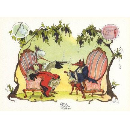 8 best images about fables de la fontaine on pinterest the o 39 jays livres and illustrations - Dessin le renard et la cigogne ...
