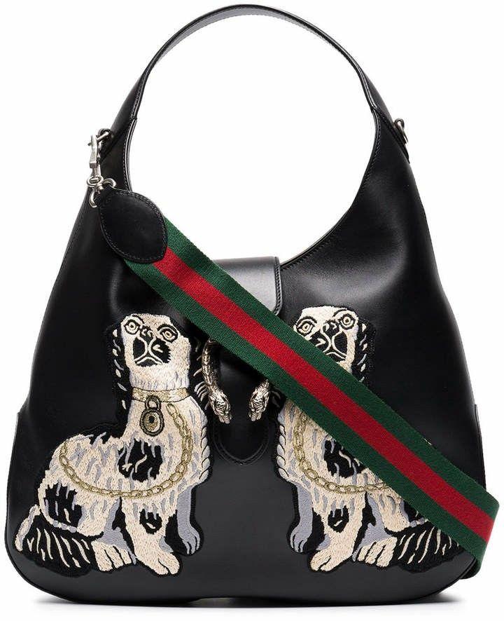 327299fb96ed Dog Bag, Large Shoulder Bags, Gucci Black, Embroidered Bag, Bags 2018,