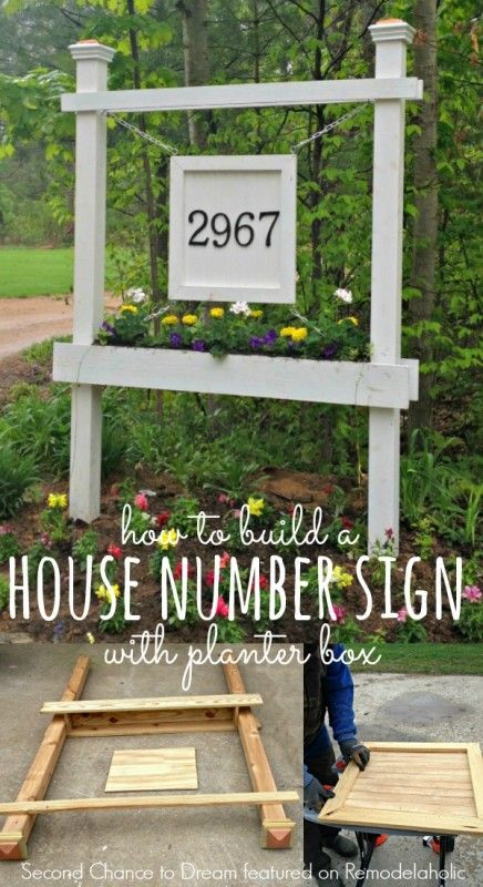 Build a House Number Sign with Planter Box - Second Chance to Dream featured on…