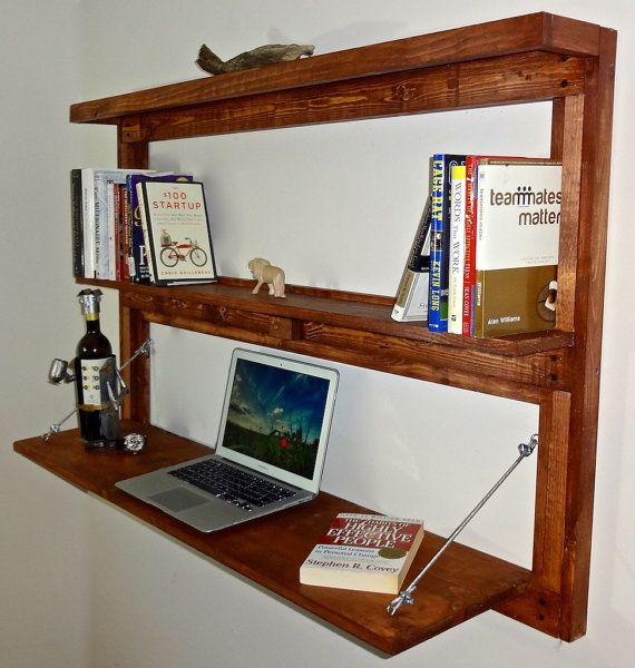 Rustic Wall Mounted Fold Out Desk With Shelves Bookcase