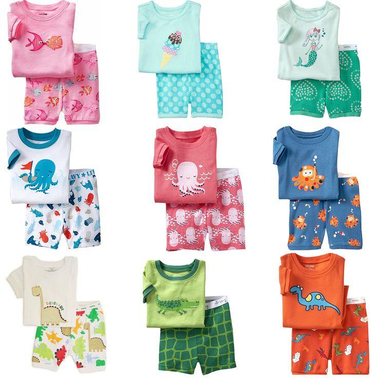 2015 Summer Kids Clothes Baby Boys Girls Clothing Superman Short Sleeve Costume Cotton Pajamas PJS Children Nightdress Pijamas