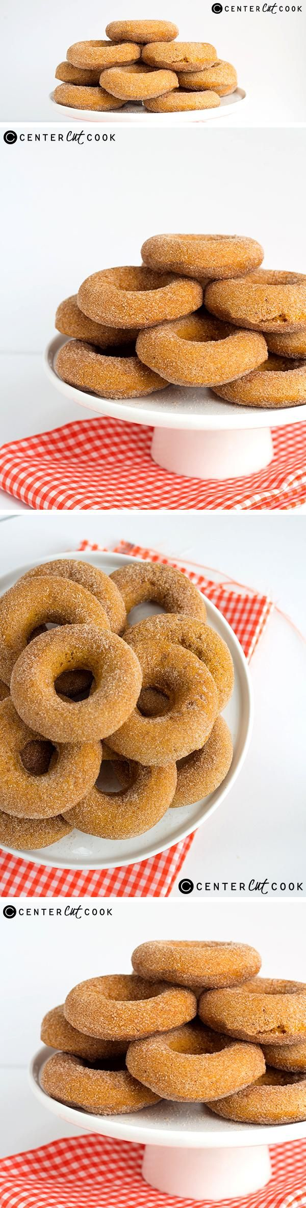 These soft, freshly BAKED PUMPKIN DONUTS with a generous coating of cinnamon sugar pairs well with a warm mug of coffee. The perfect fall treat!