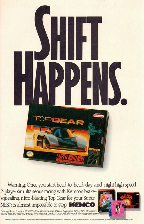 Top Gear Super Nintendo game advert. Had to read that twice.