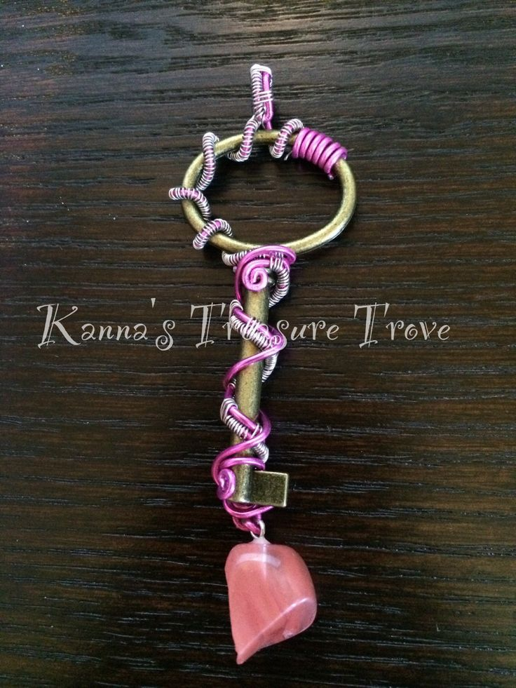 Pink and Silver wrapped Antique Key Replica with Carnelian Accent by KannasTreasureTrove on Etsy