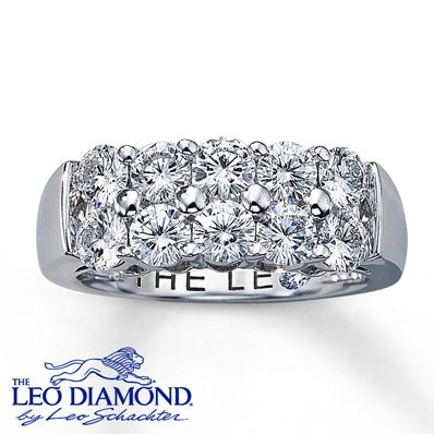 Double rows of eye-catching round Leo Diamonds symbolize enduring love, with a total diamond weight of 1 3/4 carats. This diamond ring features independently certified diamonds, and the unique laser-inscribed Gemscribe® serial number ensures your peace of mind. The inside of the 14K white gold band features a round diamond within the Leo signature. Diamond Total Carat Weight may range from 1.69 - 1.82 carats.