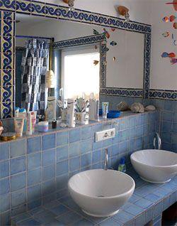 """Tamega-Shop - Einfarbig 10x10 - handgemachte bunte Fliesen, Mexico, Wandfliesen Innenbereich, Fliesenmosaik, Azulejos - Mexikanische Fliese, handbemalt, einfarbig """"Aqua"""" ca. 10x10cm,"""