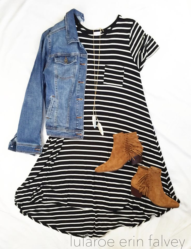 lularoe carly | denim jacket | booties | fall style | stripes