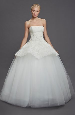 Bridal Gowns: Edgardo Bonilla Princess/Ball Gown Wedding Dress with Strapless Neckline and Natural Waist Waistline