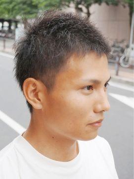 メンズ アッシュ・ブラック系ボウズ <ハート型顔向きヘア>