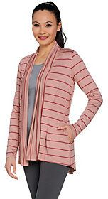 As Is LOGO by Lori Goldstein Mixed Stripe Open Front Cardigan