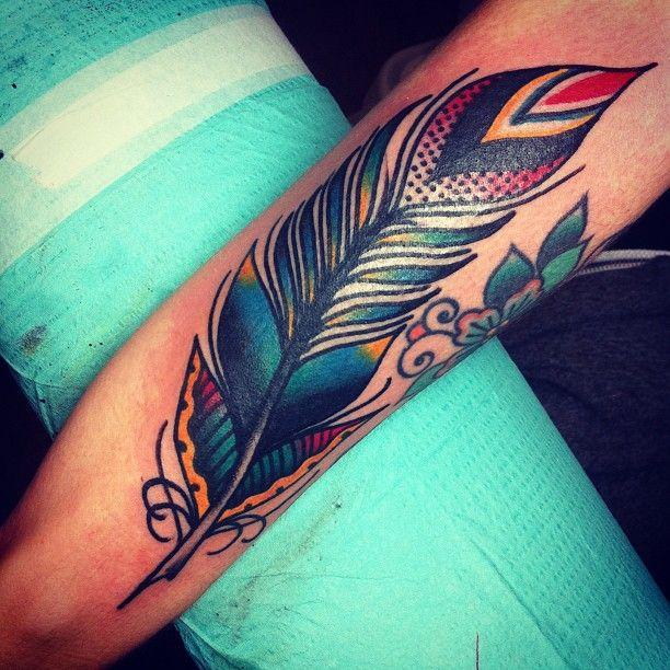 "joshstephenstattoos: ""Drawn on feather, thanks Cassie! (at Hold It Down Tattoo) """