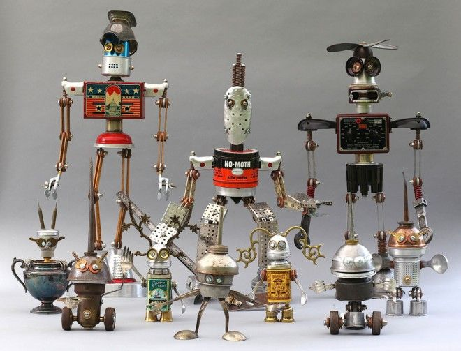 Scrap Material Sculptures. Reminds me of the Disney movie 'Robots' with Robin Williams as the voice for one of the main characters. I loved that movie!