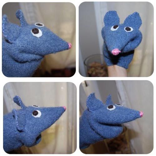 how to make a mouse sock puppet