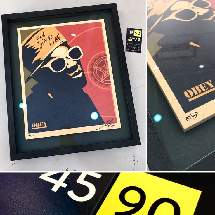 Limited edition print on wood by Shepard Fairey, signed by Flavor Flav & custom framed with anti reflection glass