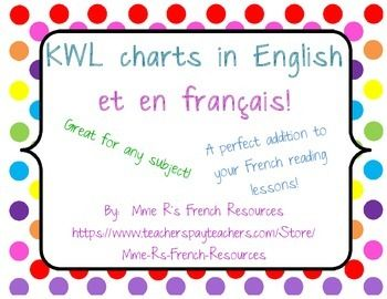 Do you need a KWL chart to use in your French class?This FREE KWL chart is available in English and in French. In English the categories are as usual:K (What I know)W (What I want to know)L (What I learned)This French KWL has 3 categories in French:(S - Ce que je sais)(V - Ce que je veux savoir)(A - Ce que j'ai appris)Depending on the level and age of the student, you can have them write in French or English, and you can use either chart to fit your needs!If you download this product, ...