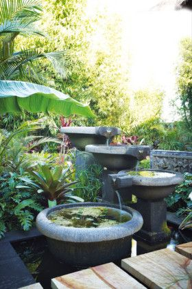 Bali garden makeover - water feature