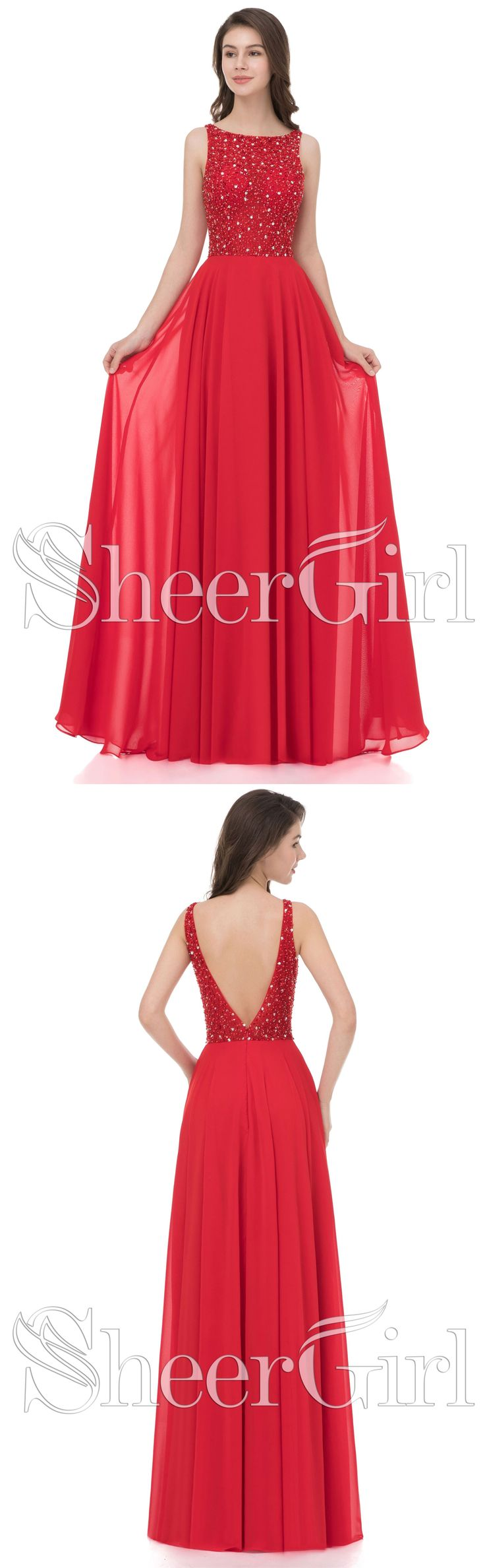 Red Chiffon Long Prom Dresses with Beaded Bodice,Cheap Prom Dresses,Pageant Dresses,Prom Dresses 2018,#prom #sheergirl