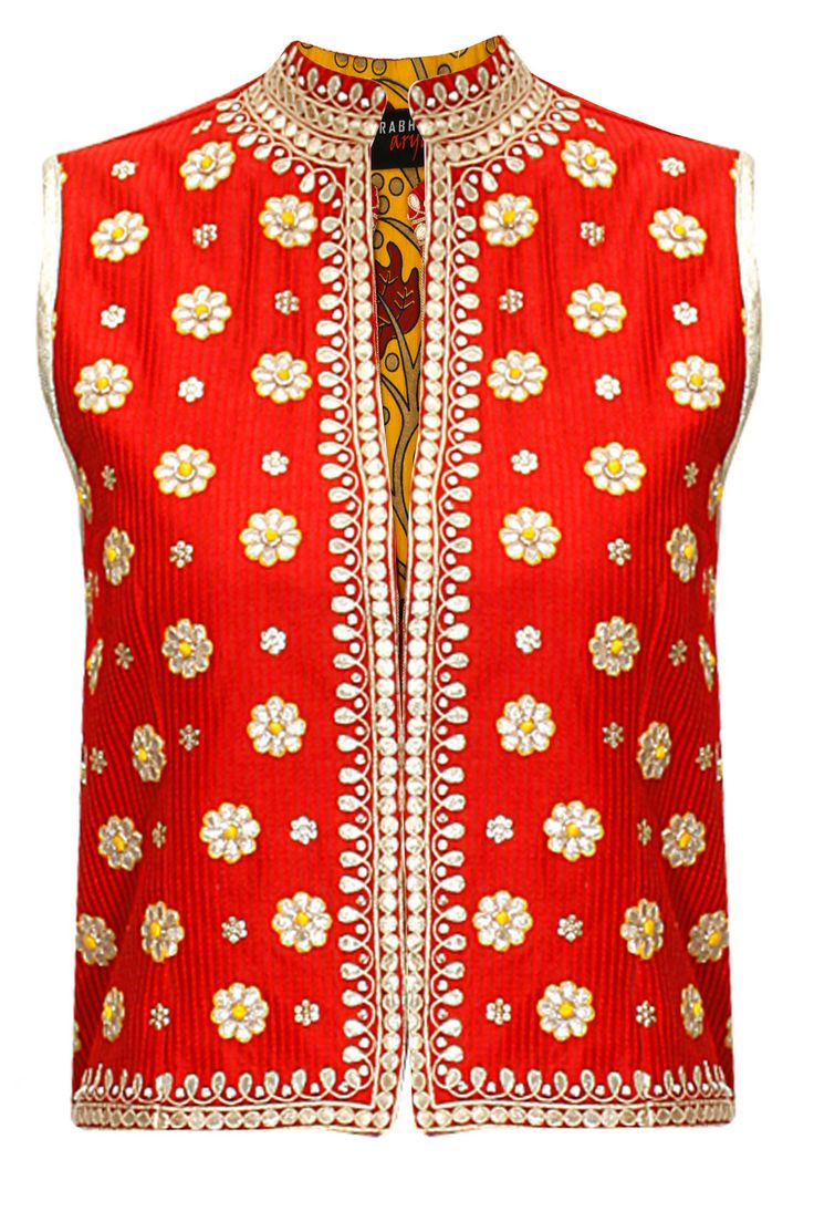 Red gota patti embroidered rajasthani jacket by Surabhi Arya. Shop at: http://www.perniaspopupshop.com/designers/surabhi-arya #jacket #surabhiarya #shopnow #perniaspopupshop