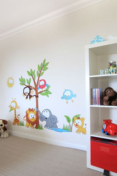 www.vinylimpression.co.uk Baby jungle scene vinyl wall sticker decals for the little bubba's room.