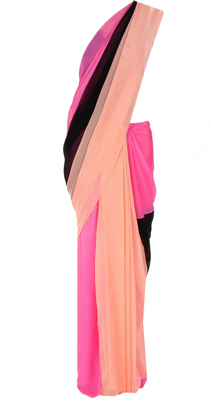 Coral and floss pre-stitched sari with draped blouse available only at Pernia's Pop-Up Shop.
